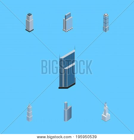Isometric Building Set Of Building, Urban, Tower And Other Vector Objects
