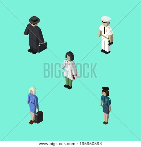 Isometric Human Set Of Doctor, Hostess, Seaman And Other Vector Objects