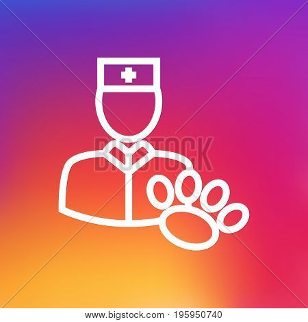 Isolated Veterinarian Outline Symbol On Clean Background