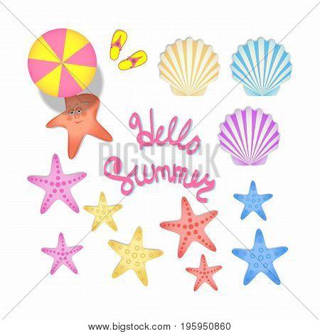 A set of color illustrations with summer souvenirs. Starfish scallop shells beach umbrella.