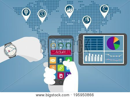 Mobile digital business infographic with hand holding smart phone and watch