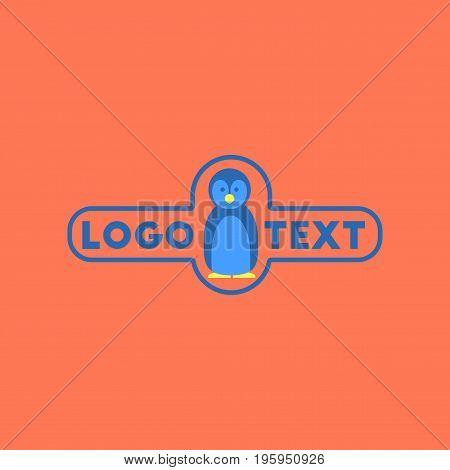 flat icon on stylish background penguin logo