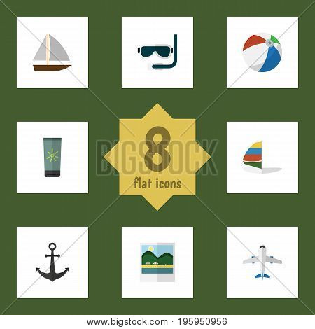 Flat Icon Summer Set Of Aircraft, Moisturizer, Ship Hook And Other Vector Objects
