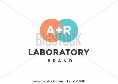 Emblem of business company with two circle, letter A, R, text Laboratory. Logo template of two merged circles for brand. Logo, signs, labels, identity, badges for business brands. Vector Illustration