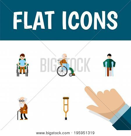 Flat Icon Handicapped Set Of Handicapped Man, Injured, Ancestor Vector Objects