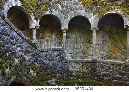 Sintra, Portugal - June 6, 2017: The Initiation well in the Quinta da Regaleira Sintra Portugal