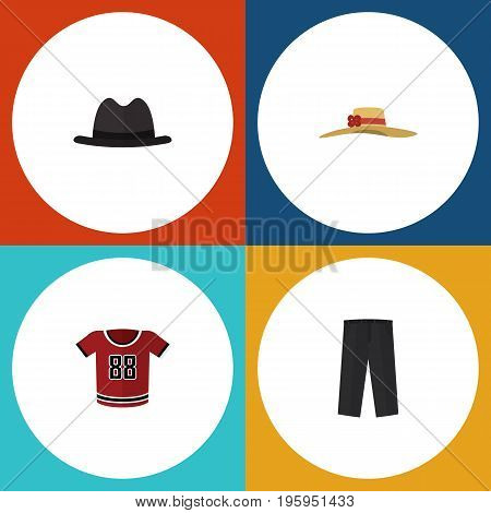 Flat Icon Garment Set Of Elegant Headgear, Panama, Pants And Other Vector Objects