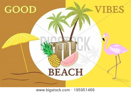 Summertime. Good vibes only with travel bag, pineapple, watermelon, flamingo and parasol in trendy pineapple colors.
