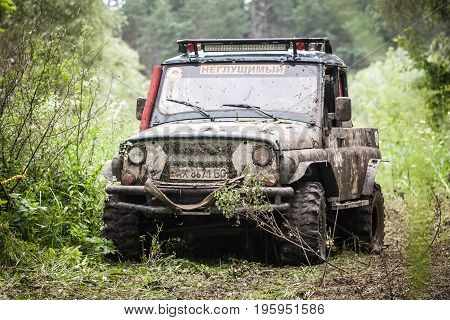 LUBOTIN UKRAINE - JULY 23 2016: RFC Ukraine Wild Boar Challenge 2016. Custom built TR3 Off-road Trophy UAZ 469 - legendary soviet off-road car.