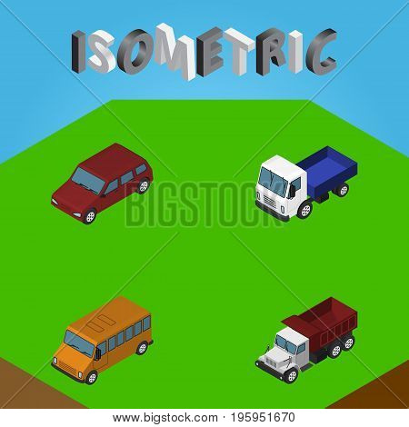 Isometric Car Set Of Freight, Lorry, Car And Other Vector Objects