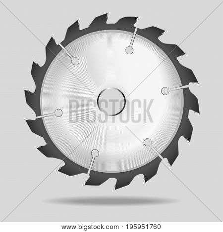 Realistic circular saw blade Vector illustration on gray background.
