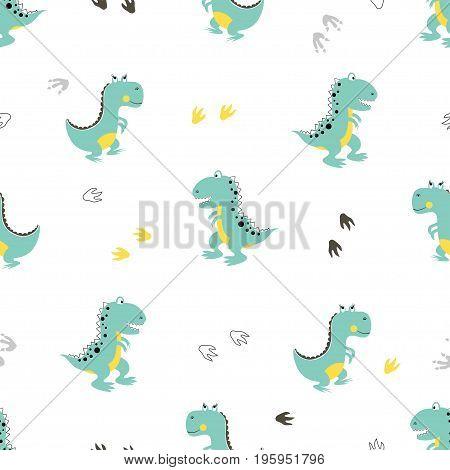 Cute dinosaurs pattern. Vector cartoon dino background. Baby print.