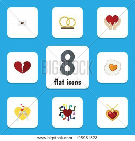 Flat Icon Passion Set Of Scrambled, Save Love, Divorce And Other Vector Objects