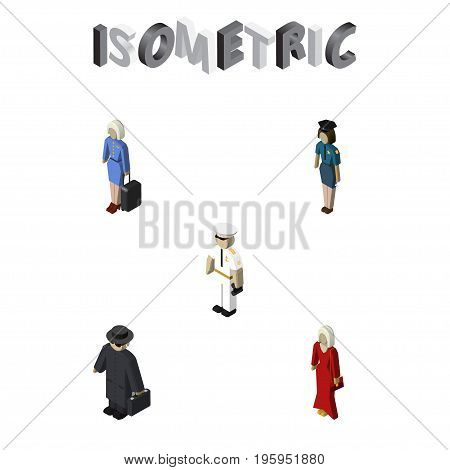 Isometric Person Set Of Detective, Seaman, Female And Other Vector Objects