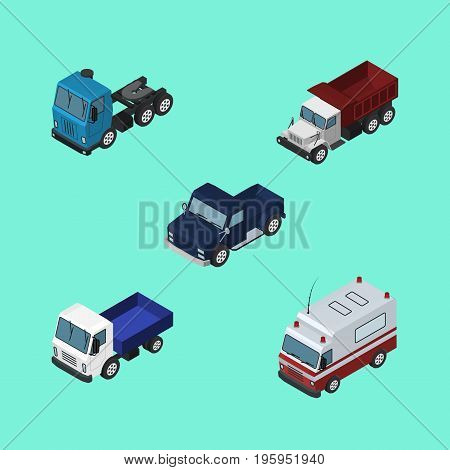 Isometric Transport Set Of First-Aid, Lorry, Truck And Other Vector Objects
