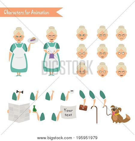 Grandmother housewife character for scenes. Parts of body template for animation.  Emoji face icons