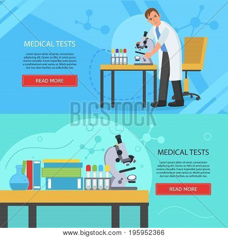 Medical laboratory concept banners. Laboratory assistant works in scientific medical chemical or biological lab doing medical tests. Vector illustration for clinic hospital and laboratory.