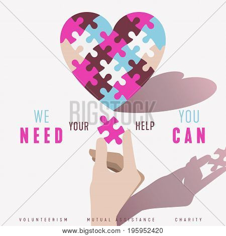 Puzzle Heart and Hand vector poster design concept. Relationship volunteerism help charity and community symbol.