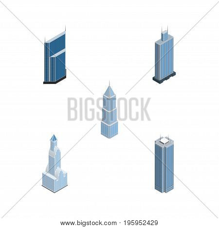 Isometric Skyscraper Set Of Cityscape, Business Center, Residential And Other Vector Objects