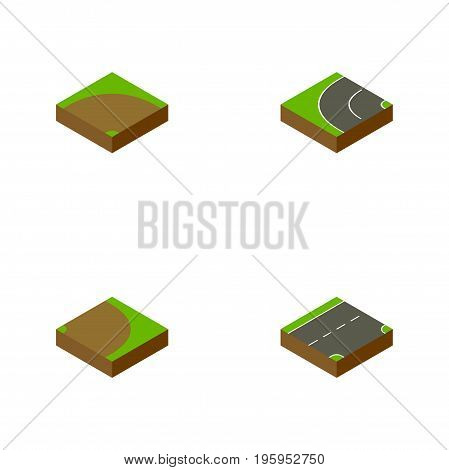 Isometric Way Set Of Sand, Down, Rotation Vector Objects