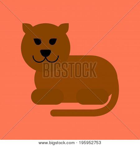flat icon on stylish background cartoon panther