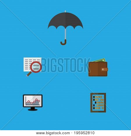 Flat Icon Gain Set Of Parasol, Scan, Billfold And Other Vector Objects