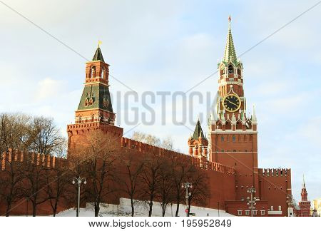 Moscow Russian Federation - February 05 2015: Kremlin Spasskaya tower on Red Square