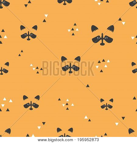 Seamless orange pattern with raccoon faces and triangles. Vector background.