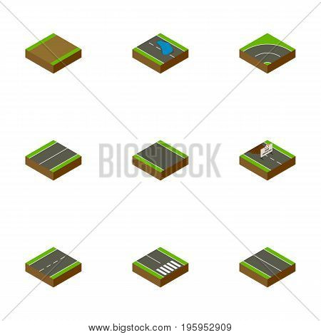 Isometric Road Set Of Repairs, Plash, Bitumen And Other Vector Objects