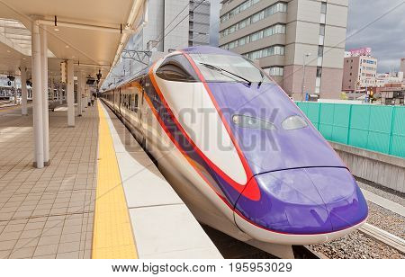 YAMAGATA JAPAN - MAY 28 2017: E3-2000 type high-speed train on Yamagata station Japan. Services as Tsubasa Shinkansen operated on Yamagata Shinkansen line by East Japan Railway Company since 2008