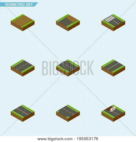 Isometric Way Set Of Repairs, Unfinished, Single-Lane And Other Vector Objects