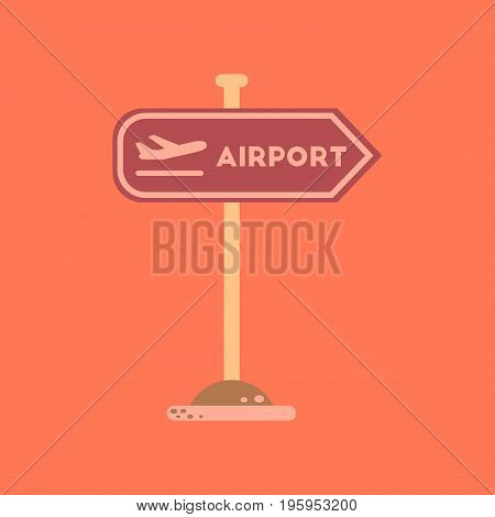 flat icon on stylish background airport sign