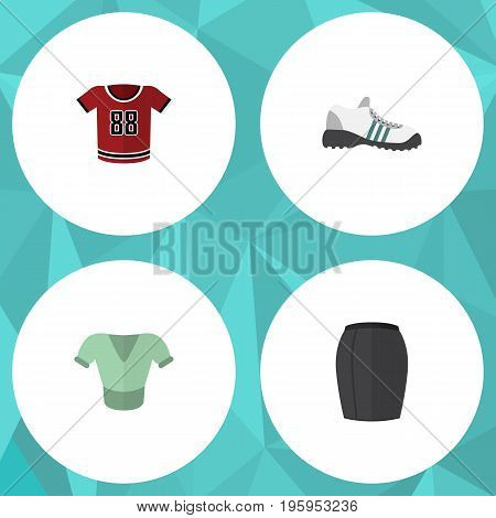 Flat Icon Dress Set Of Casual, Stylish Apparel, Sneakers And Other Vector Objects