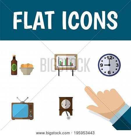 Flat Icon Oneday Set Of Beer With Chips, Television, Whiteboard And Other Vector Objects