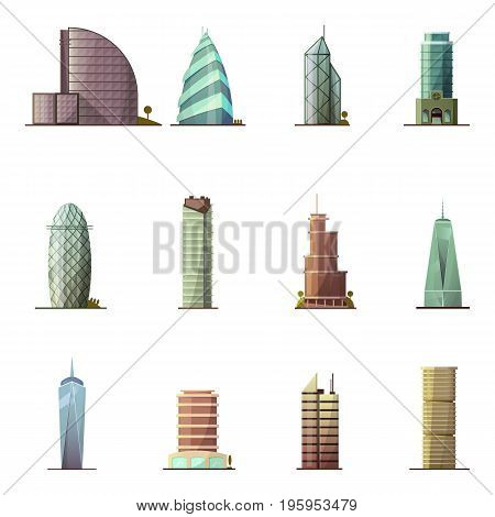 Office buildings. Historical and modern world most visited famous distinctive buildings icons set for tourists cartoon isolated vector illustration
