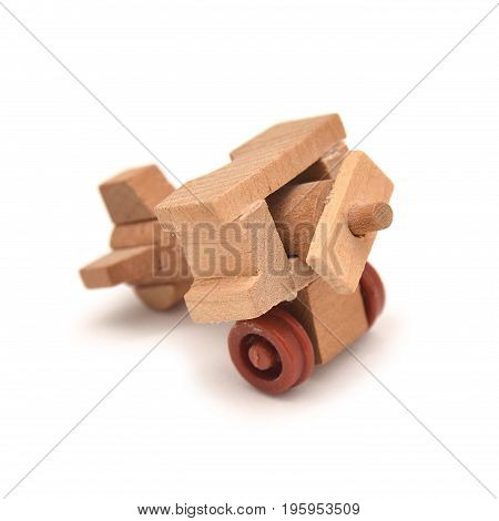 wooden toy plane isolated on white background
