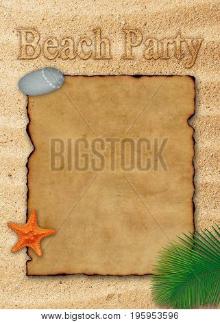 Blank sheet of parchment paper for beach party invitation: a parchment, decorated with a palm leaf, a stone and a starfish on beach sand background.