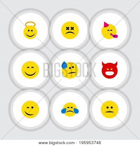 Flat Icon Emoji Set Of Party Time Emoticon, Winking, Cross-Eyed Face And Other Vector Objects