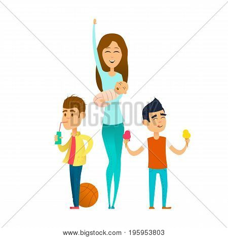 Modern stylish babysitter. nanny holding baby playing with kids. cartoon vector illustration