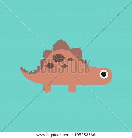 flat icon on stylish background cartoon dinosaur