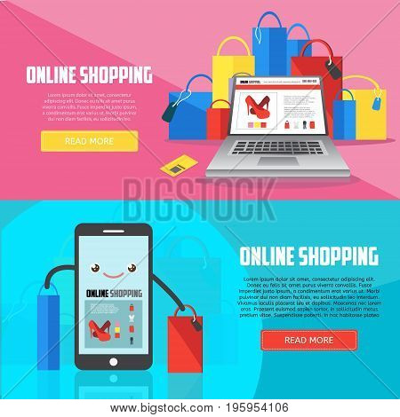 Online shopping horizontal banners with laptop smartphone and purchases. E-commerce business concept. Online shopping creative vector illustration.