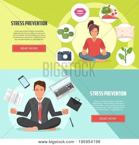 Stress prevention vector banners. Businessman doing yoga. Relaxed and calm office workers. Concept vector design of stress prevention at work.
