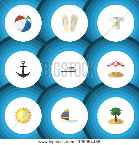 Flat Icon Summer Set Of Ship Hook, Surfing, Parasol And Other Vector Objects