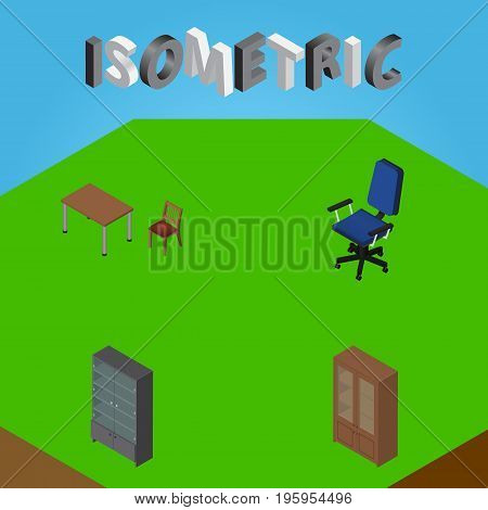 Isometric Furniture Set Of Chair, Sideboard, Cabinet And Other Vector Objects