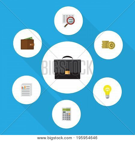 Flat Icon Incoming Set Of Billfold, Document, Cash And Other Vector Objects