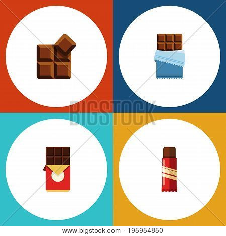 Flat Icon Sweet Set Of Bitter, Chocolate Bar, Cocoa And Other Vector Objects