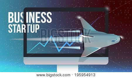 Picture of a space shuttle starting up from PC monitor concept for business startup new product or service launch