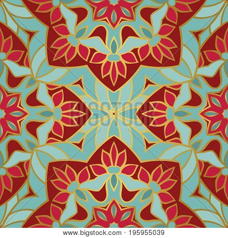 Colorful filigree pattern. Vector eastern background. Oriental ethnic ornament. Template for textile carpet shawl.