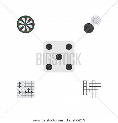 Flat Icon Play Set Of Chequer, Backgammon, Gomoku And Other Vector Objects
