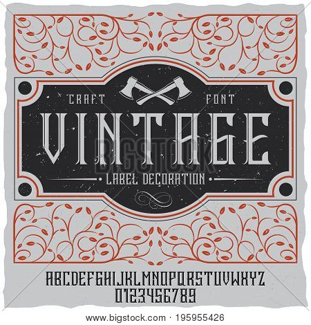 Vintage label decoration poster with tracery on field and vintage font vector illustration